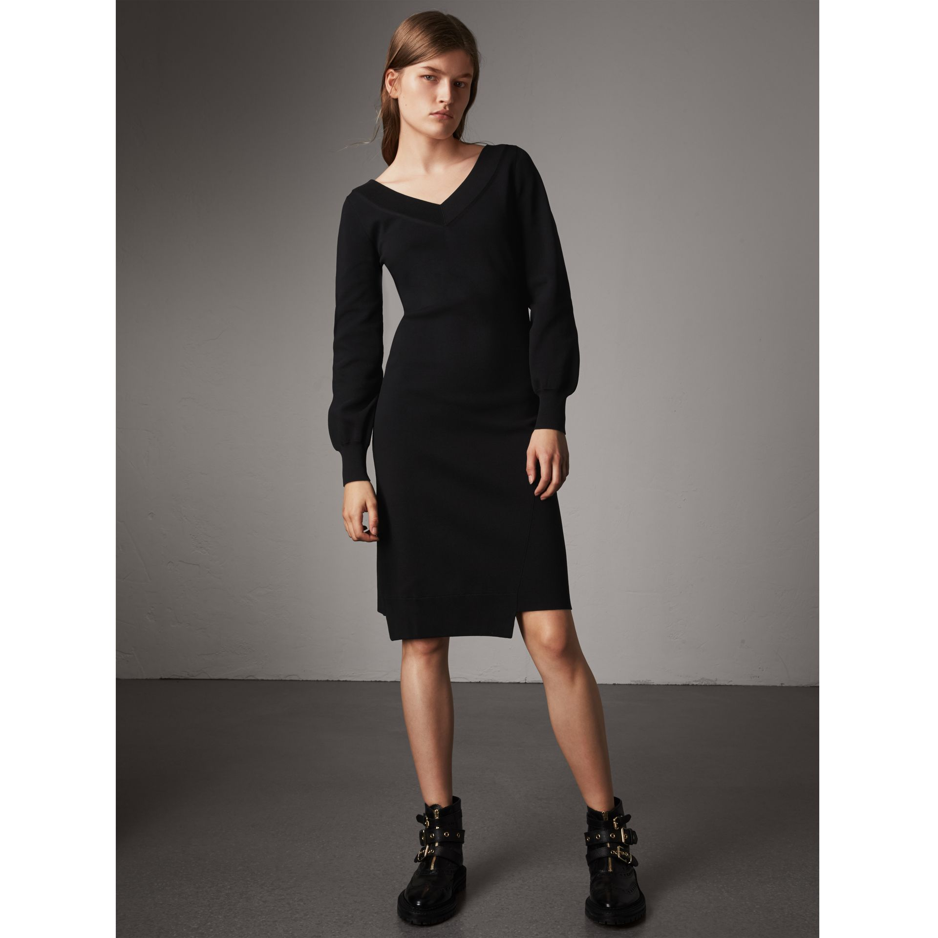 Asymmetric Knitted V-neck Dress in Black - Women | Burberry - gallery image 1