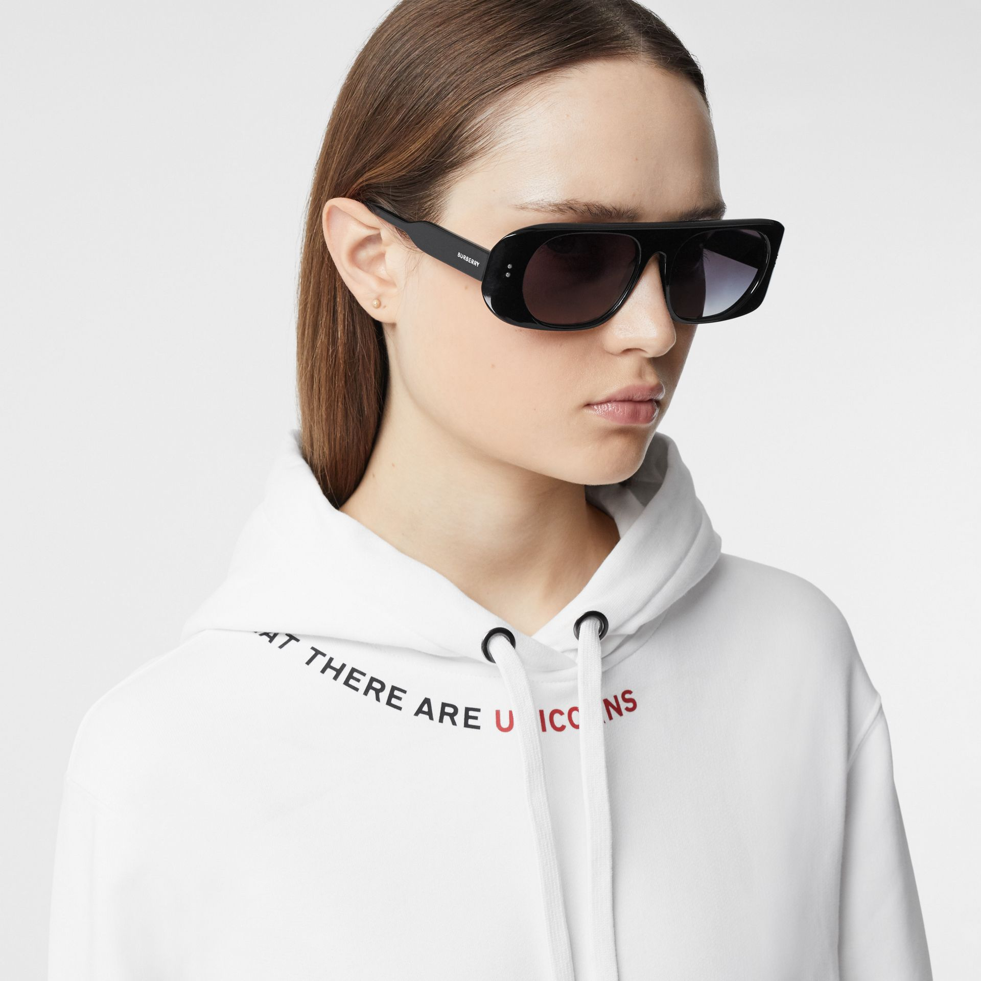 Quote Print Cotton Oversized Hoodie in White - Women | Burberry United States - gallery image 1