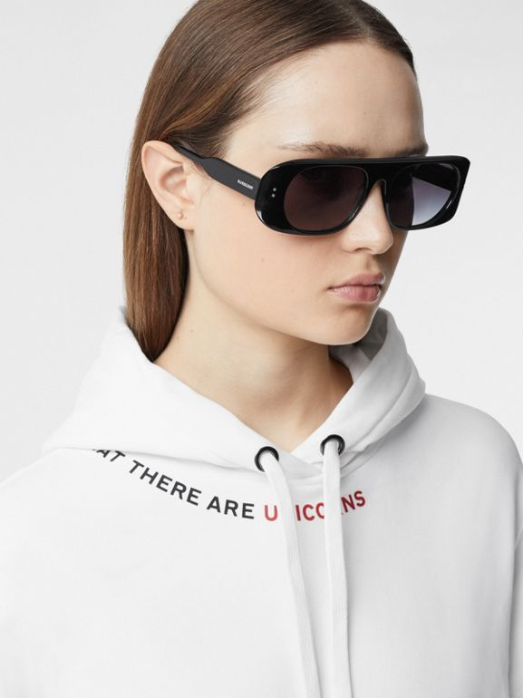 Quote Print Cotton Oversized Hoodie in White - Women | Burberry United States - cell image 1
