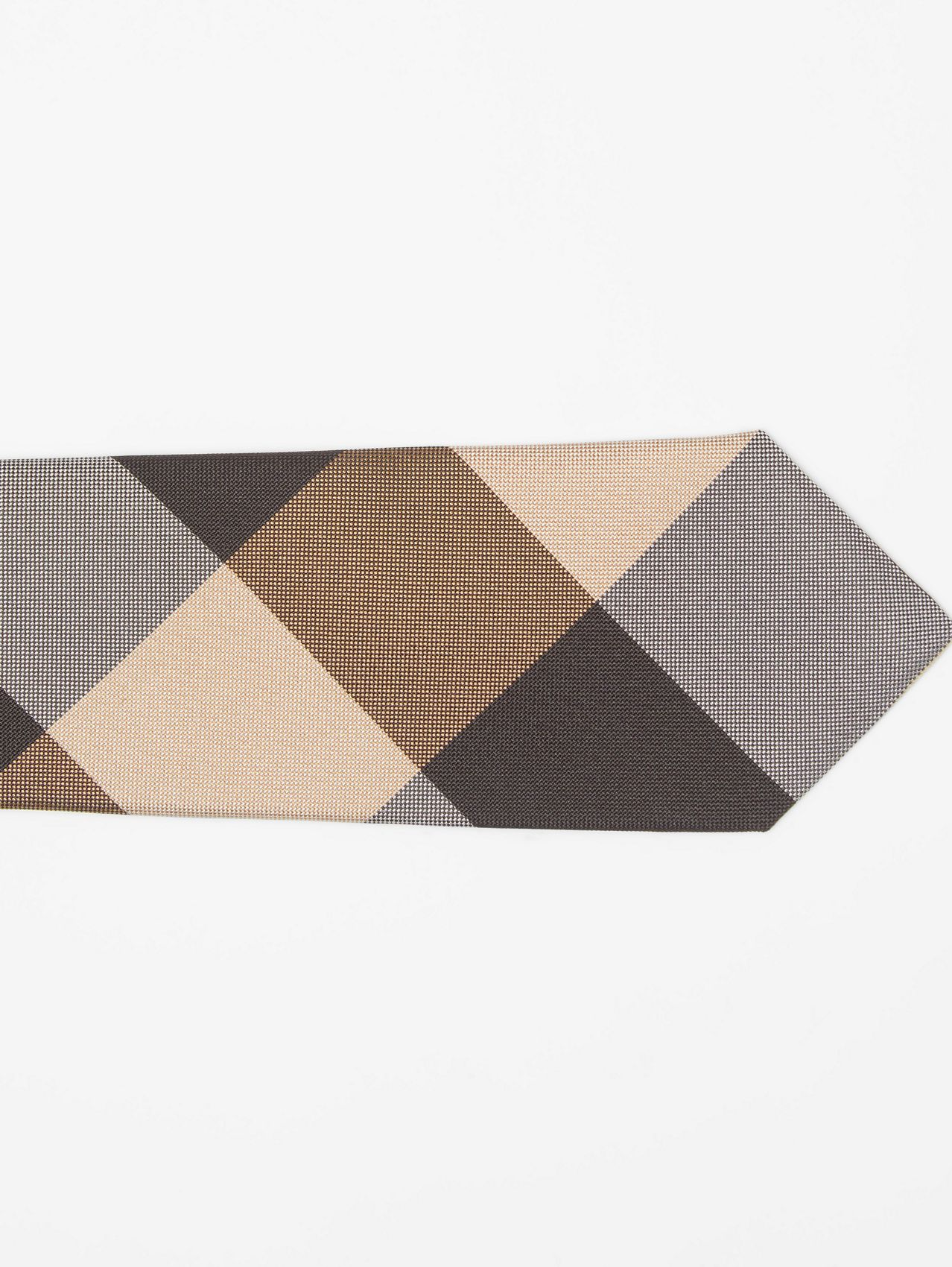 Classic Cut Oversized Check Silk Tie in Archive Beige