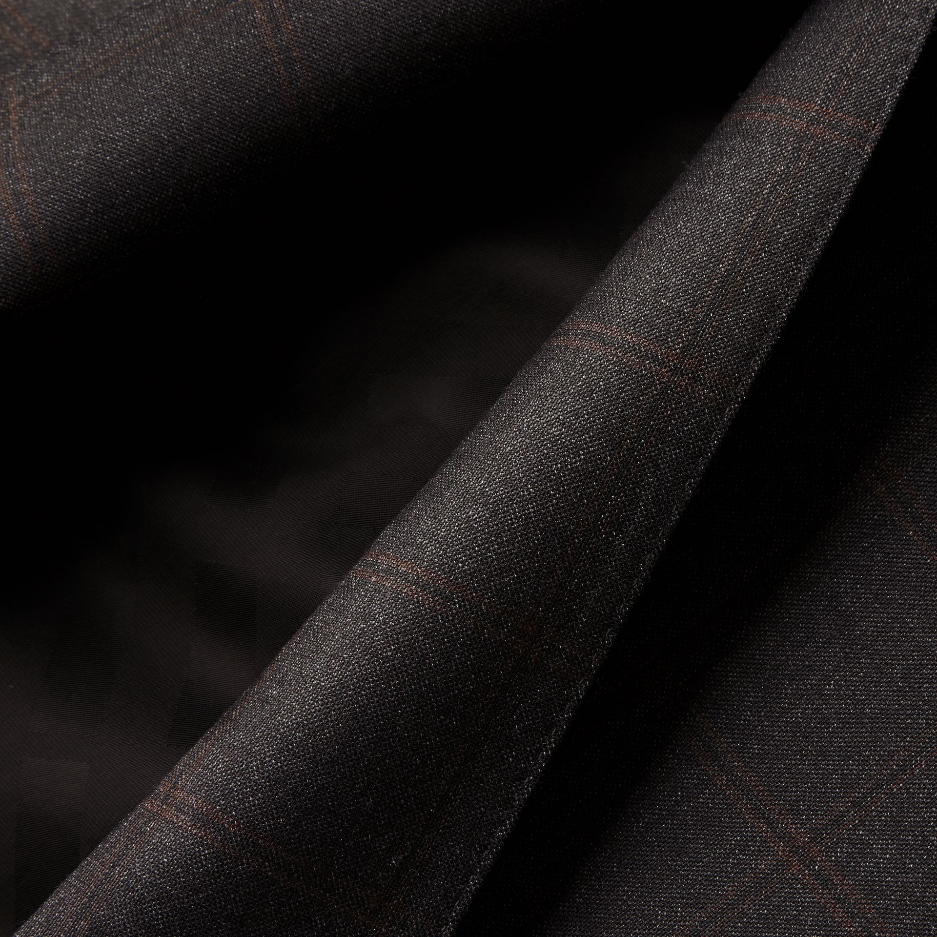 Dark brown Slim Fit Check Wool Travel Tailoring Suit - gallery image 2