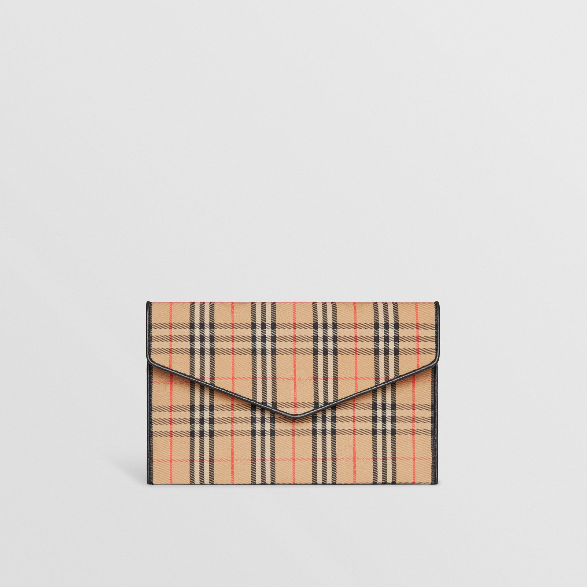 Medium 1983 Check and Leather Envelope Pouch in Black - Women | Burberry United Kingdom - gallery image 0