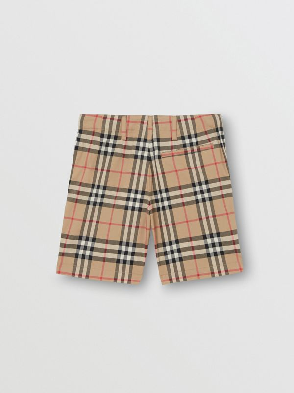 Vintage Check Cotton Tailored Shorts in Archive Beige | Burberry - cell image 3