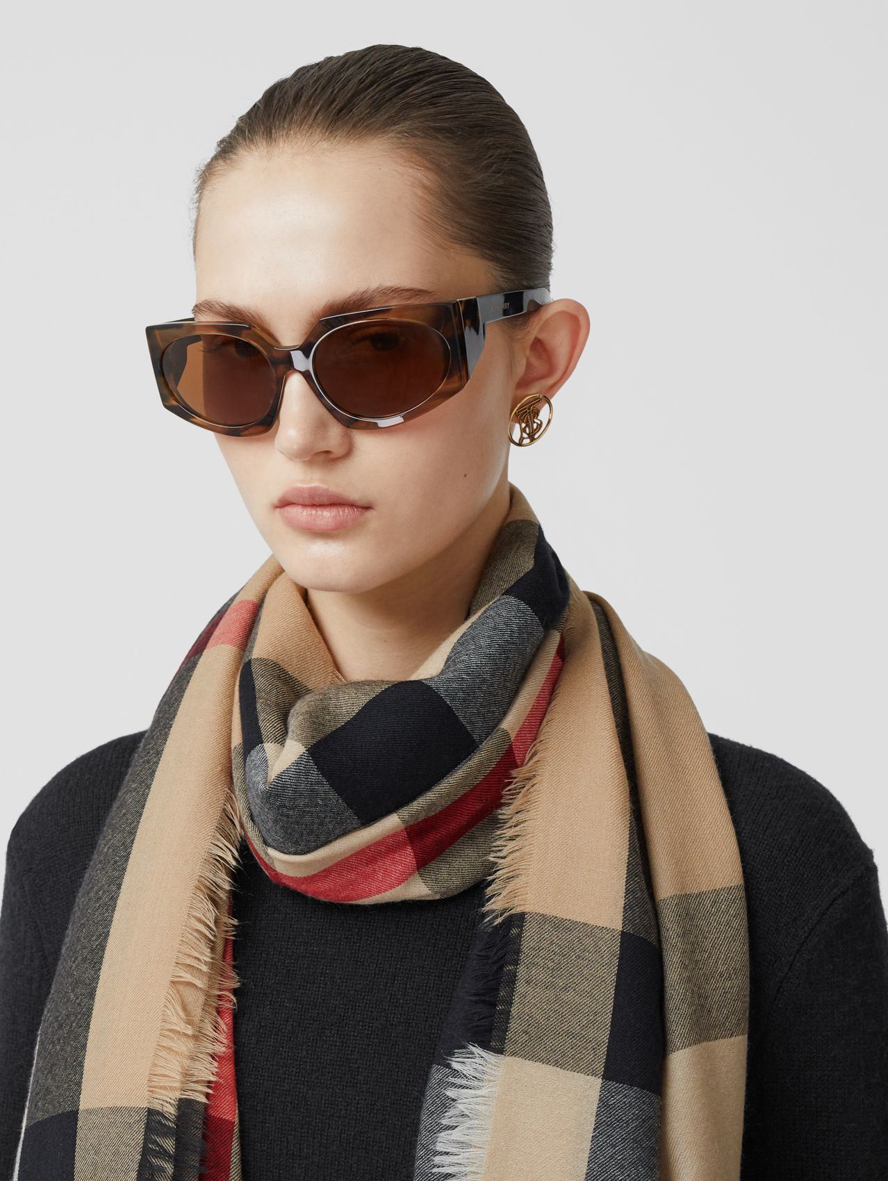 Lightweight Check Cashmere Scarf in Archive Beige