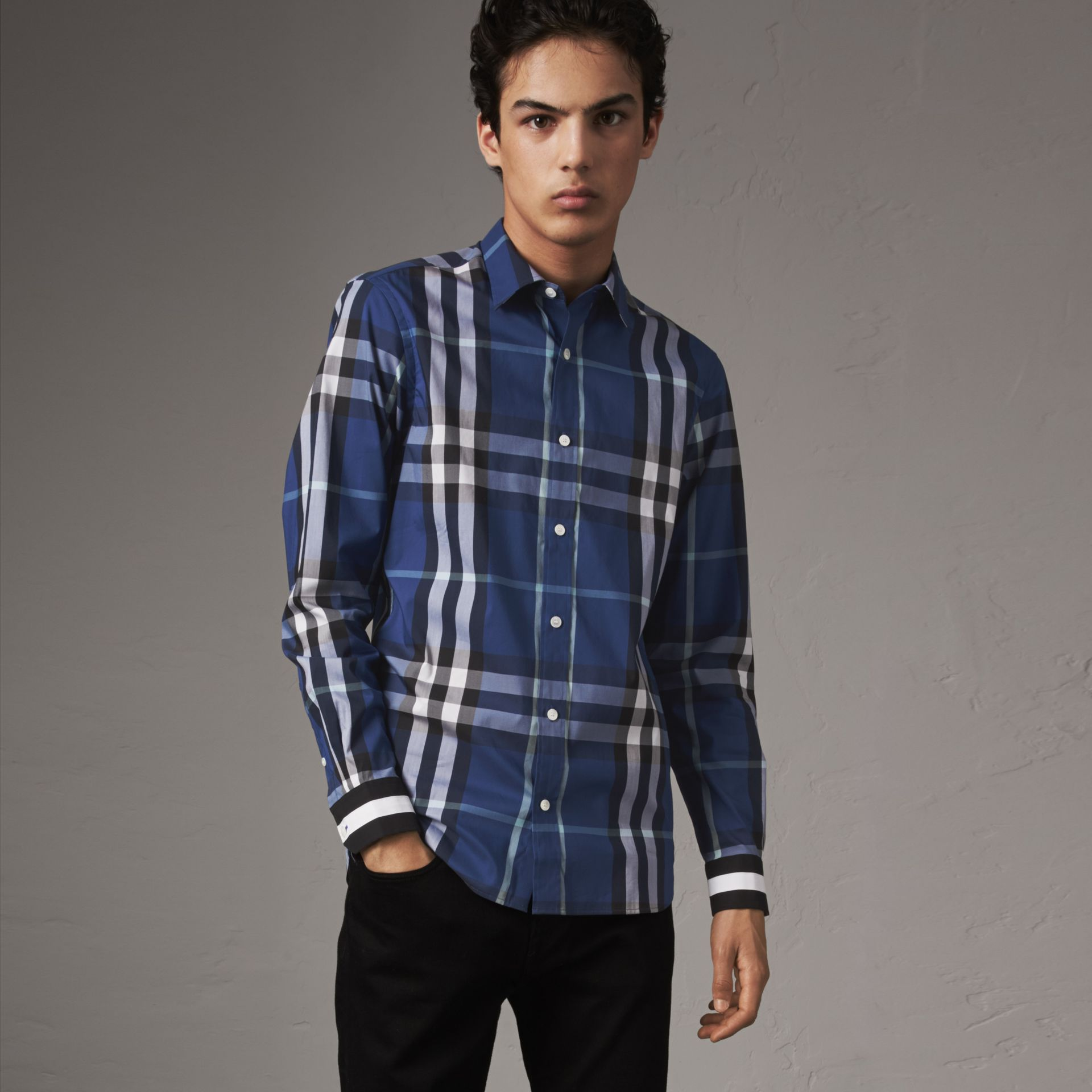 Striped Cuff Check Cotton Blend Shirt in Cobalt Blue - Men | Burberry - gallery image 0