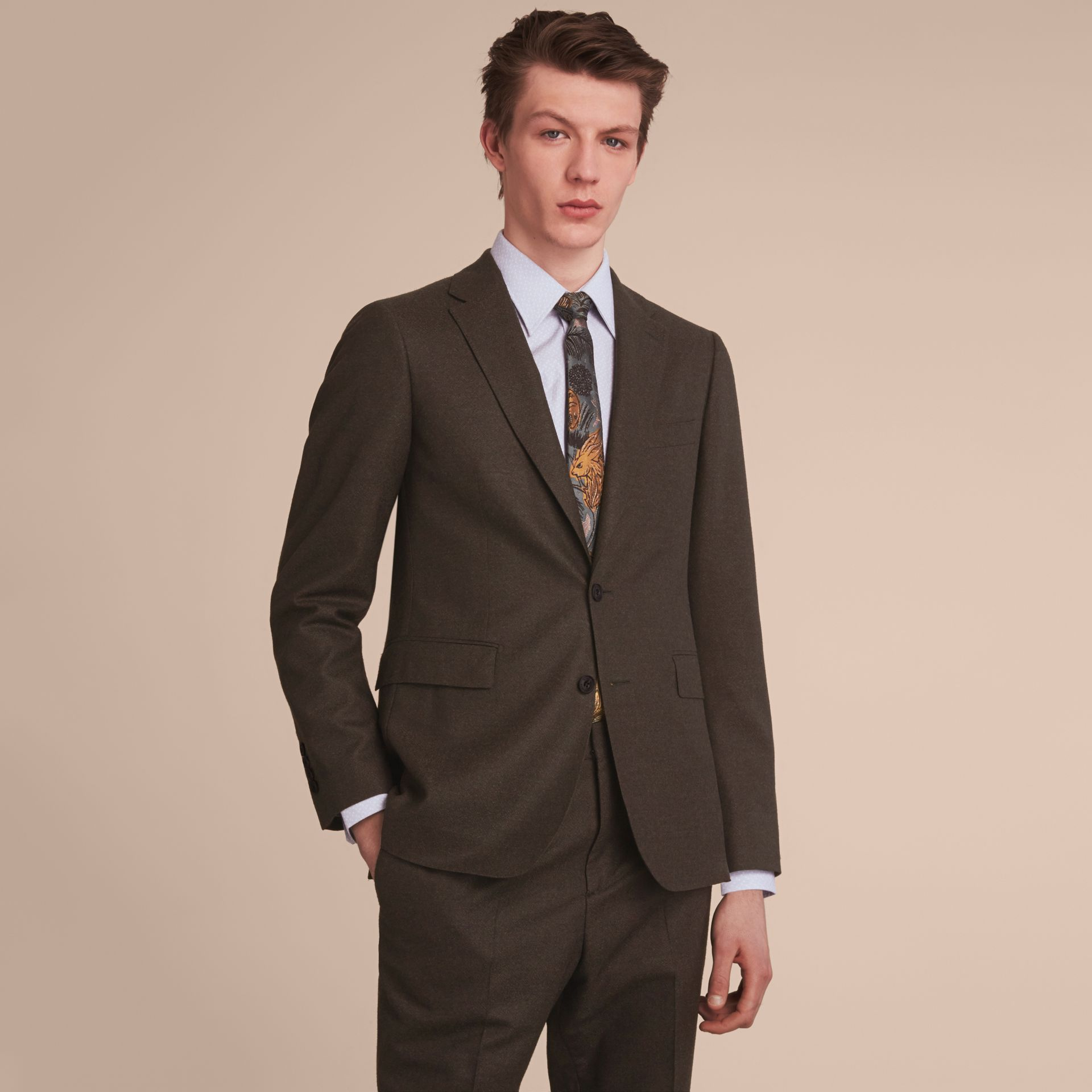 Soho Fit Wool Flannel Suit in Military Green Melange - Men | Burberry - gallery image 8