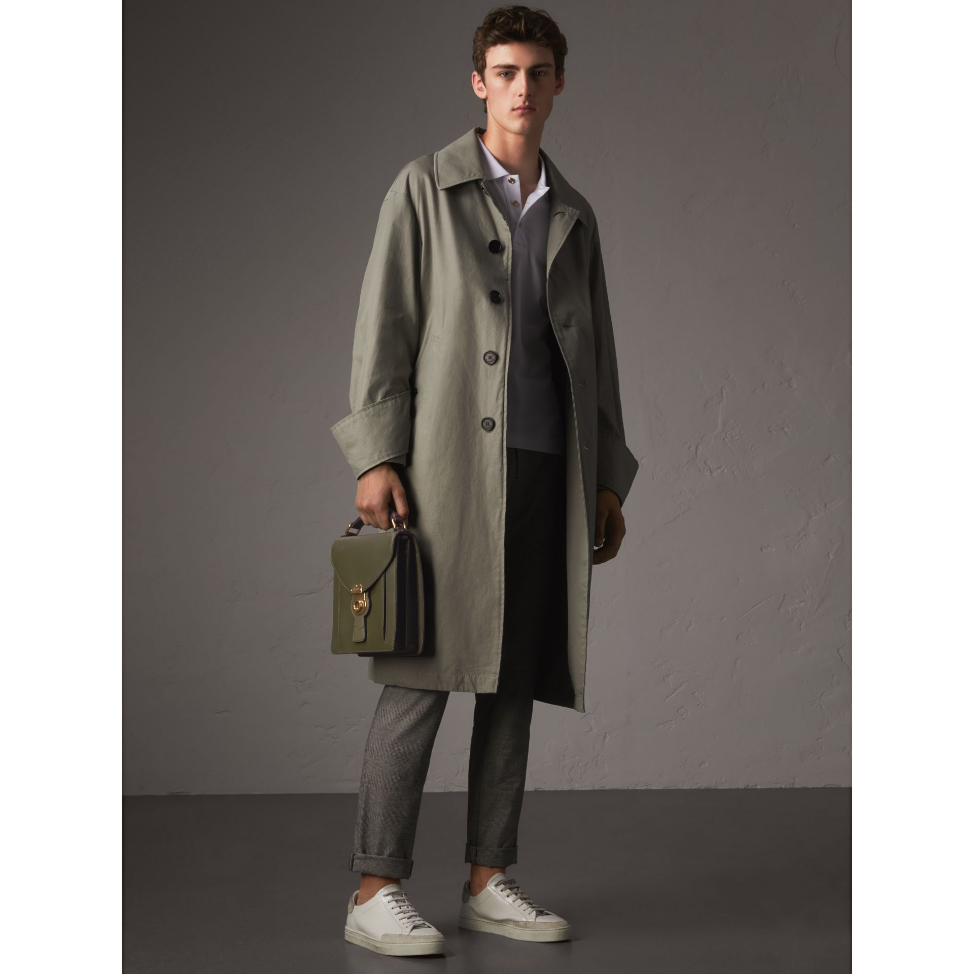 Unisex Tropical Gabardine Car Coat with Exaggerated Cuffs in Slate Green - Men | Burberry - gallery image 6