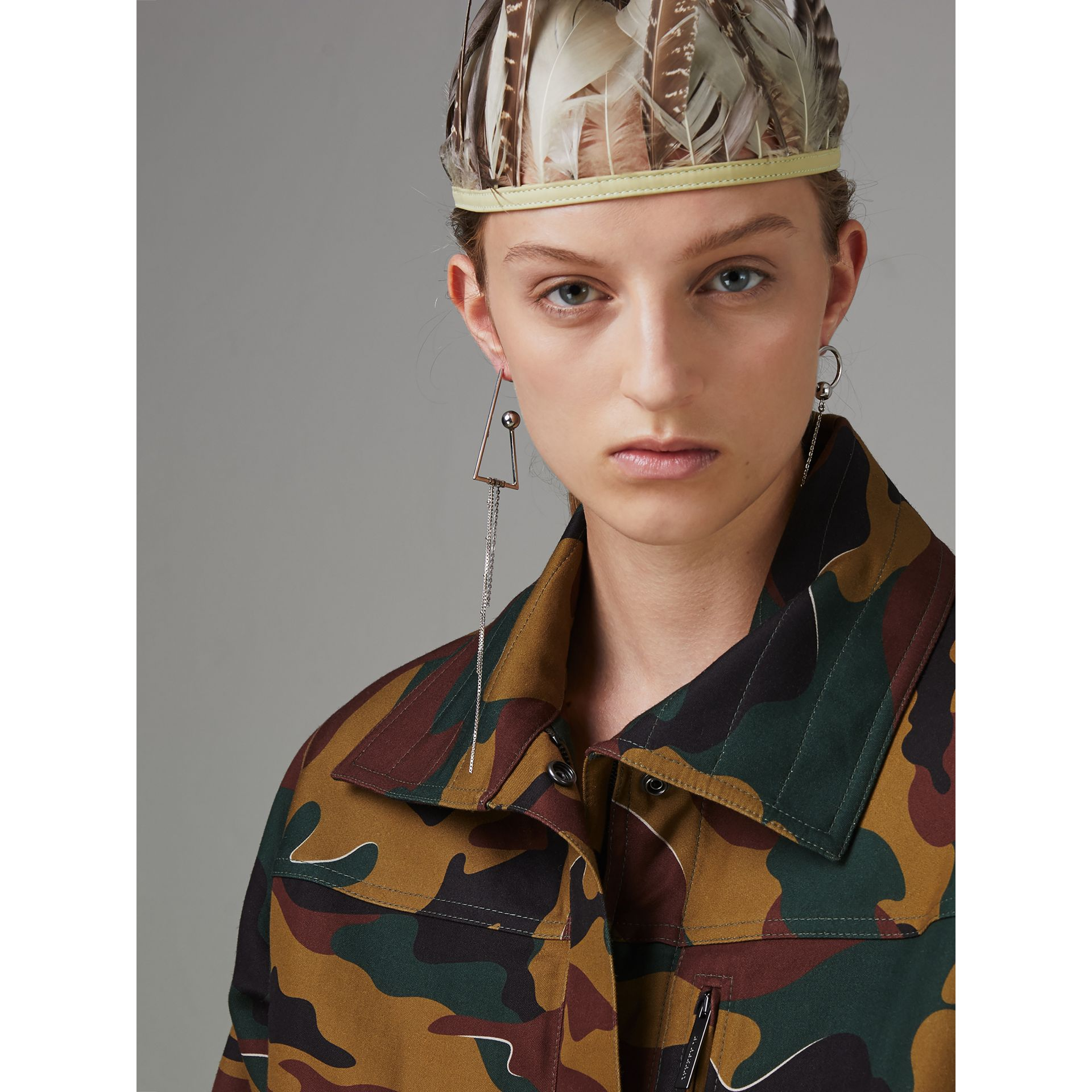 Boyfriend Fit Camouflage Print Jacket in Ochre Green - Women | Burberry Australia - gallery image 1