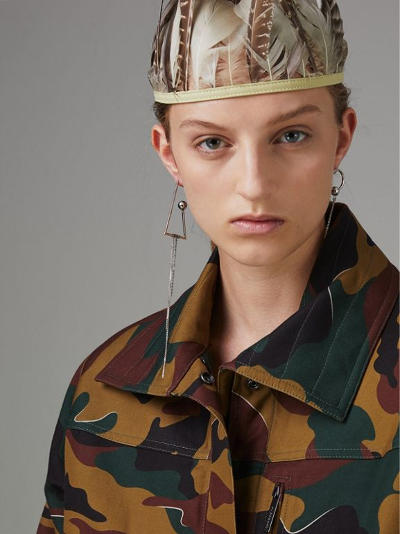 Boyfriend Fit Camouflage Print Jacket in Ochre Green - Women | Burberry Singapore - cell image 1