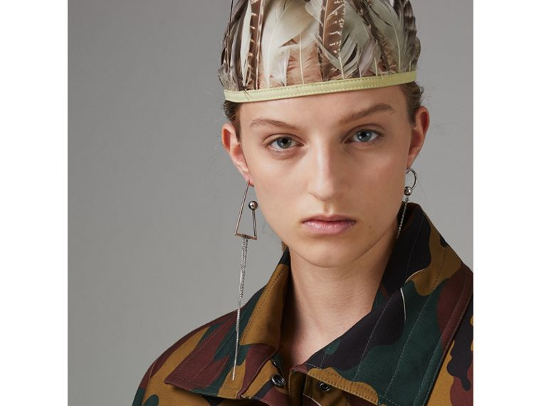 Boyfriend Fit Camouflage Print Jacket in Ochre Green - Women | Burberry Australia - cell image 1
