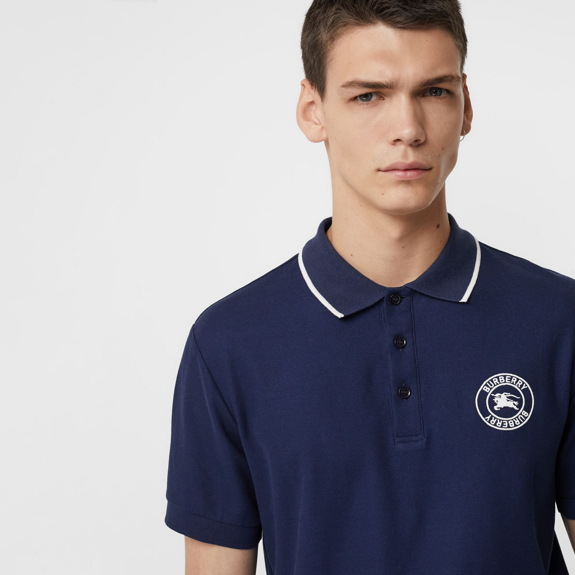 Embroidered Logo Cotton Piqué Polo Shirt in Navy - Men | Burberry - gallery image 1
