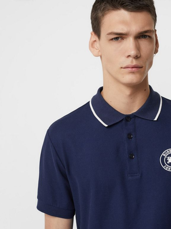 Embroidered Logo Cotton Piqué Polo Shirt in Navy - Men | Burberry Canada - cell image 1