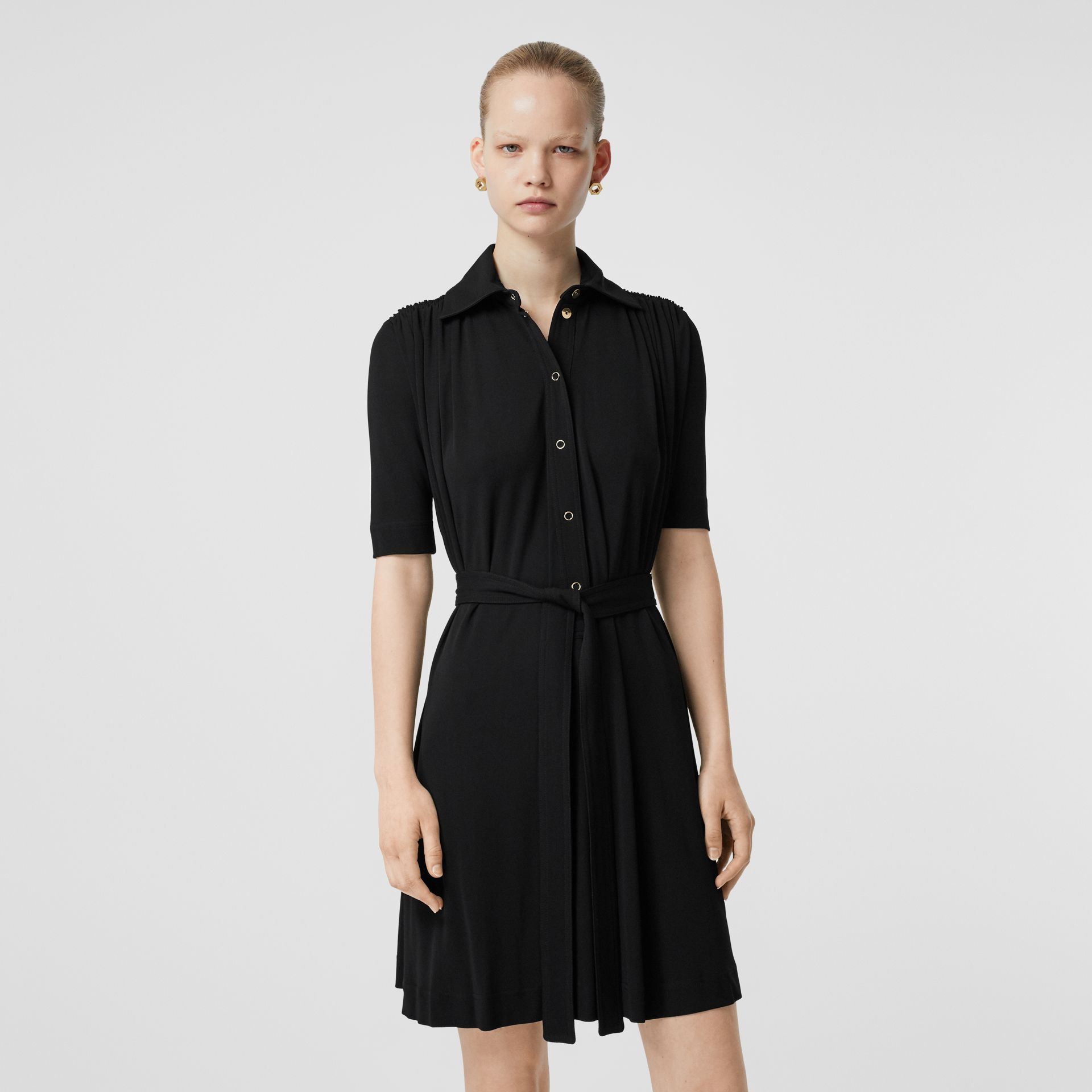 Short-sleeve Gathered Jersey Dress in Black - Women | Burberry - gallery image 5