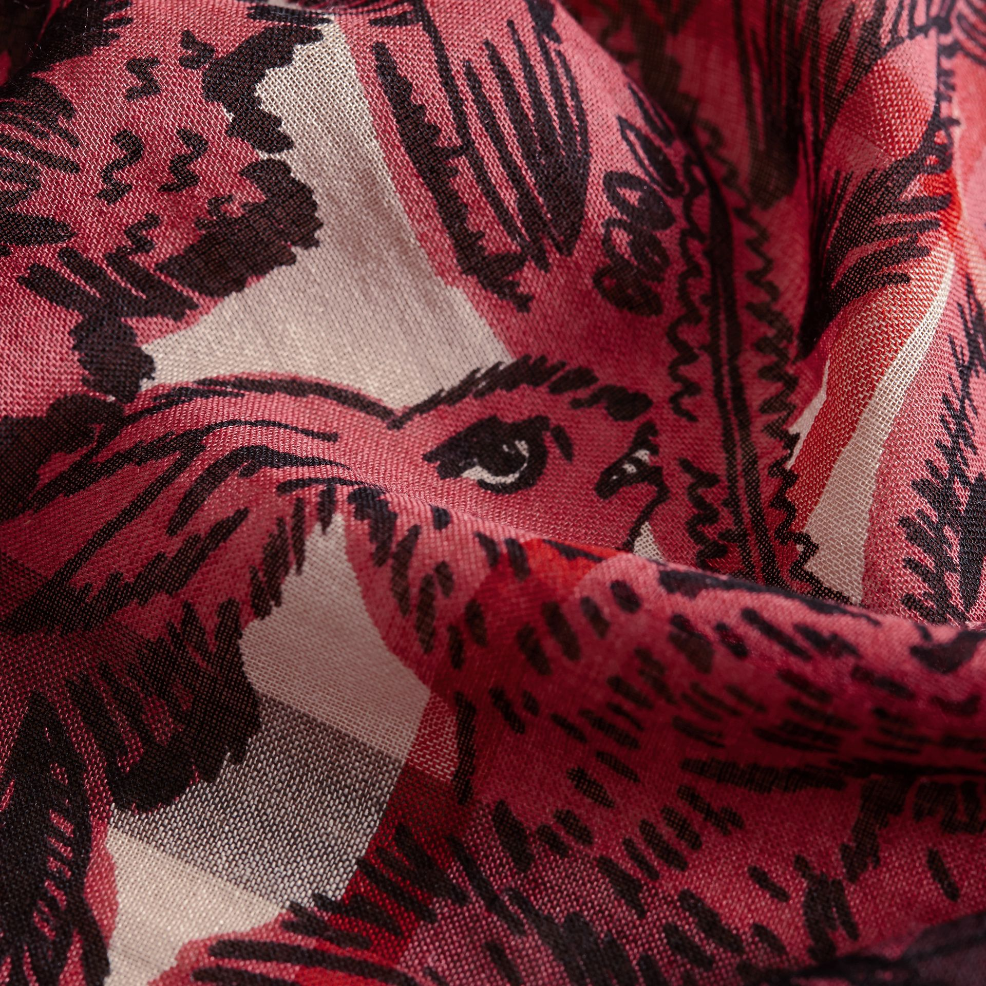 Beasts Print and Check Lightweight Wool Silk Scarf in Pink Azalea - Women | Burberry - gallery image 1