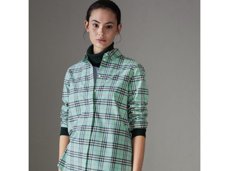 Check Cotton Shirt in Bright Aqua - Women | Burberry United States - cell image 4