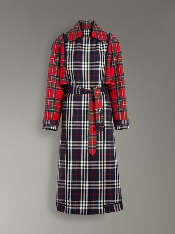 Check and Tartan Cotton Trench Coat in Navy - Women | Burberry United Kingdom - cell image 3
