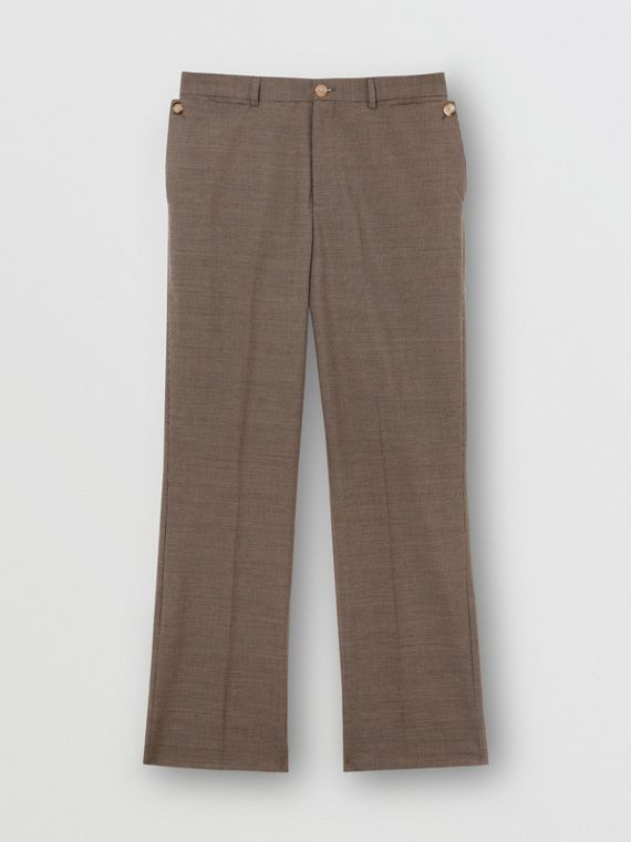 Pocket Detail Wool Tailored Trousers in Beige