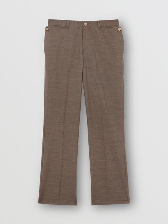 Calças de alfaiataria de lã com detalhe de bolso (Bege)