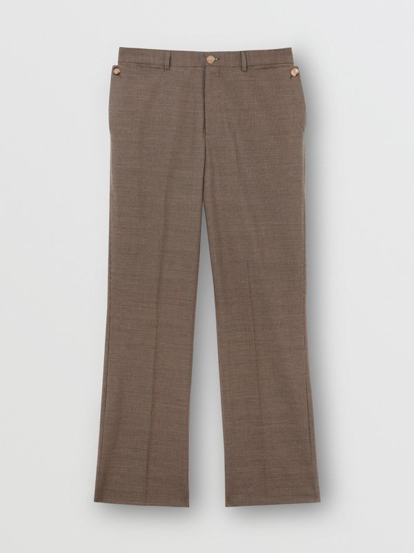 Pocket Detail Wool Tailored Trousers in Beige - Men | Burberry - cell image 3