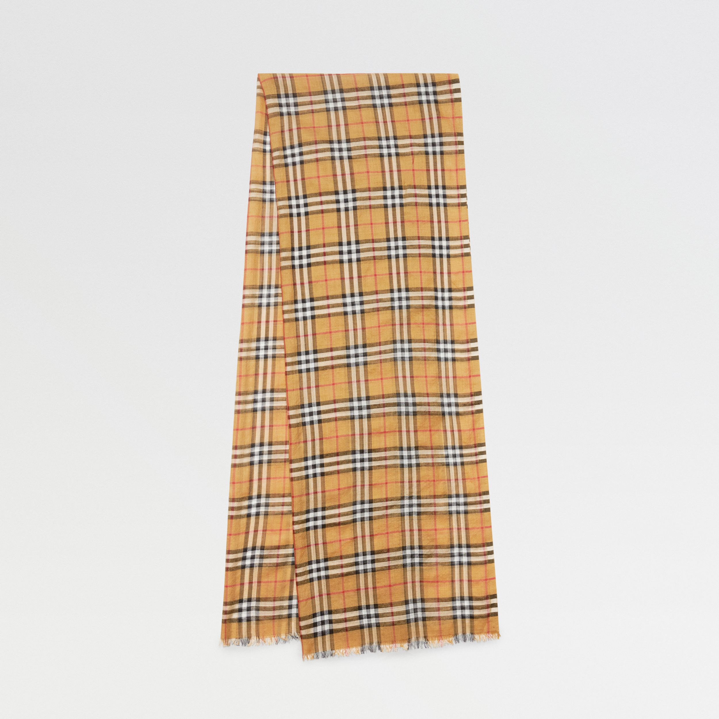 Vintage Check Lightweight Wool Silk Scarf in Antique Yellow | Burberry - 1