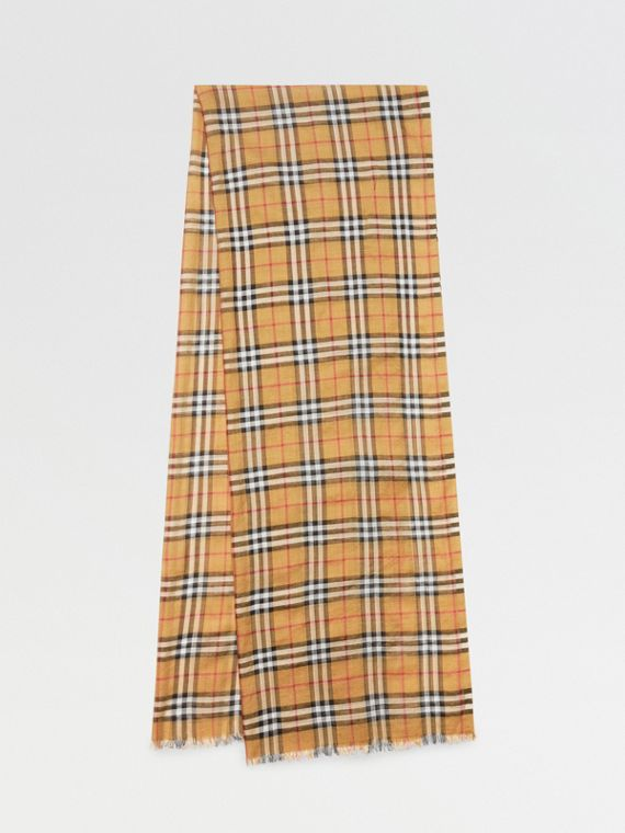 Vintage Check Lightweight Wool Silk Scarf in Antique Yellow