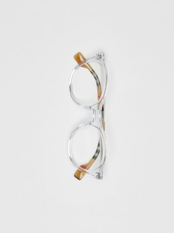 Vintage Check Detail Round Optical Frames in Crystal - Women | Burberry Hong Kong - cell image 3