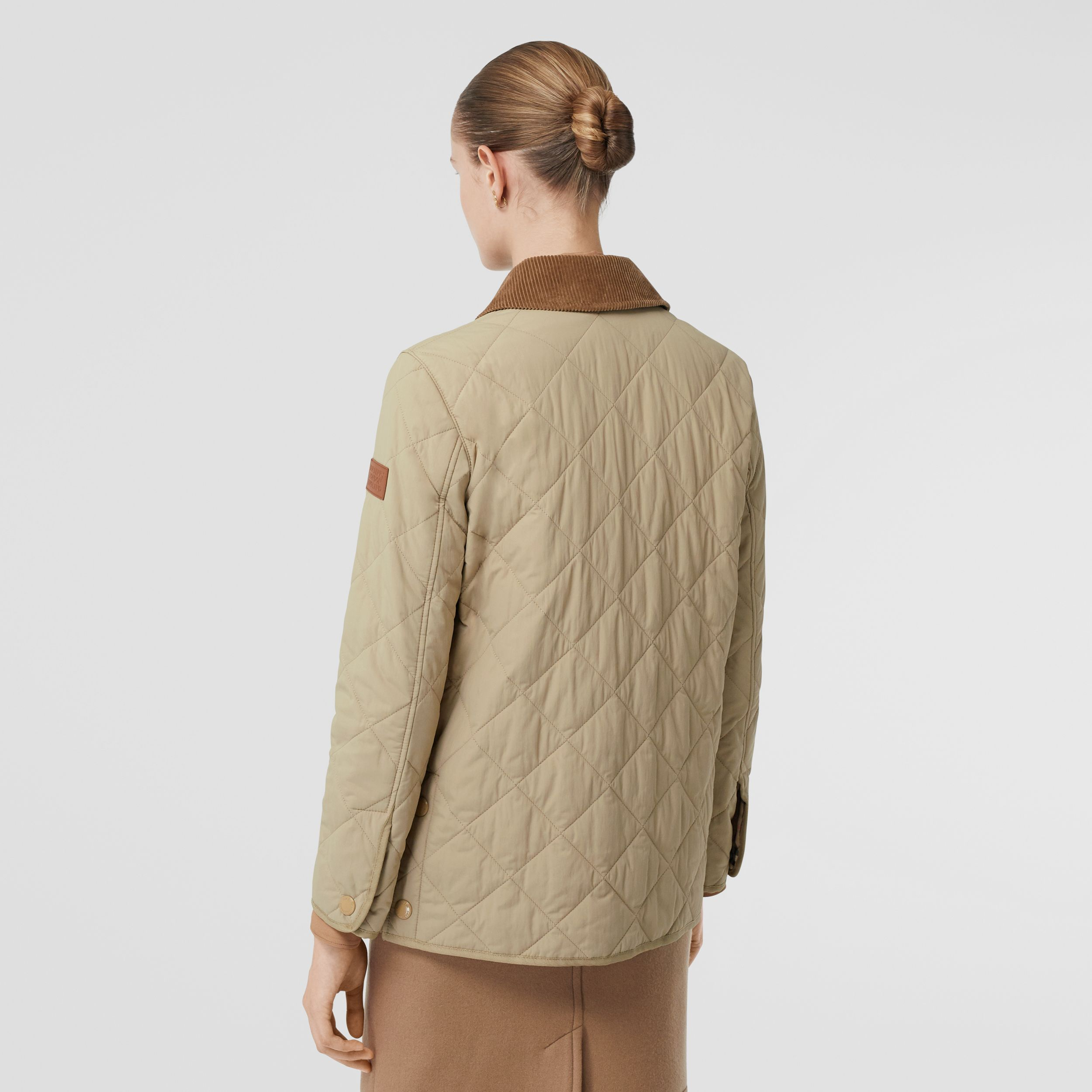 Diamond Quilted Thermoregulated Barn Jacket in Honey - Women | Burberry - 3