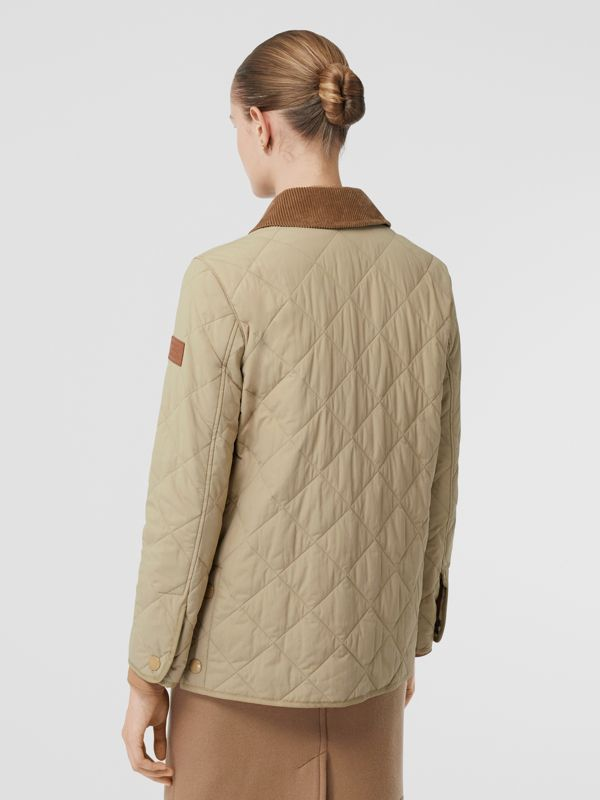 Diamond Quilted Thermoregulated Barn Jacket in Honey - Women | Burberry - cell image 2