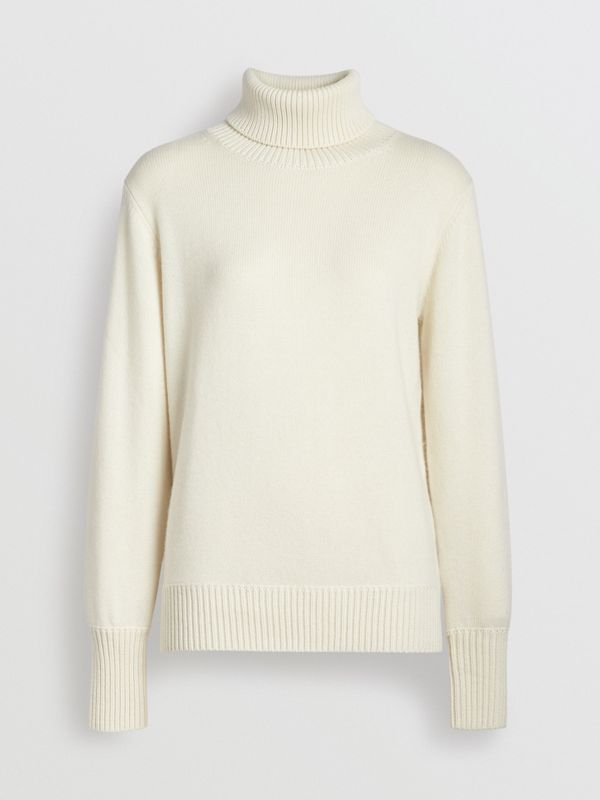 Archive Logo Appliqué Cashmere Roll-neck Sweater in White - Women | Burberry - cell image 3