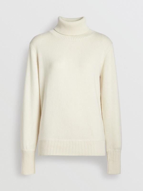 Jersey en cachemir con cuello vuelto y aplique de logotipo vintage (Blanco) - Mujer | Burberry - cell image 3