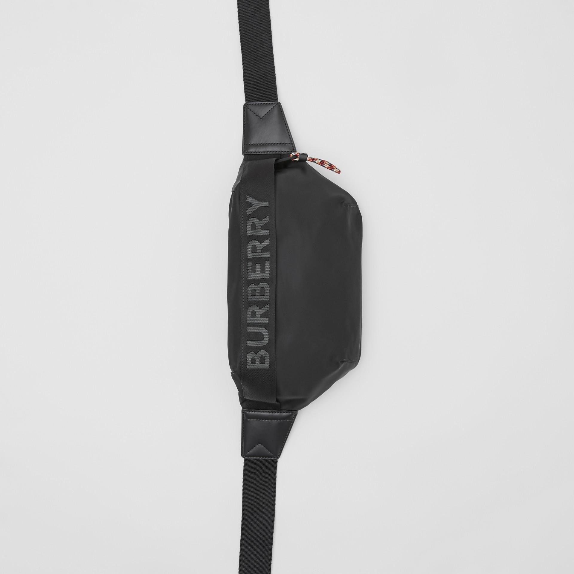 Logo Detail ECONYL® Sonny Bum Bag in Black - Men | Burberry - gallery image 2