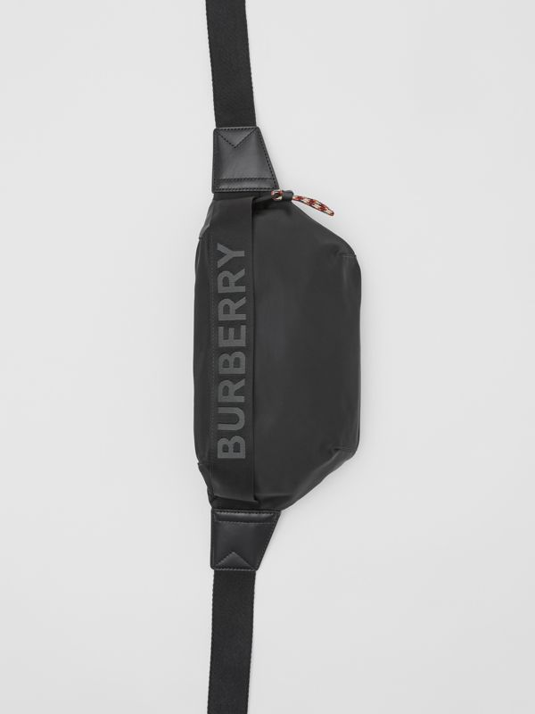 Logo Detail ECONYL® Sonny Bum Bag in Black - Men | Burberry - cell image 2