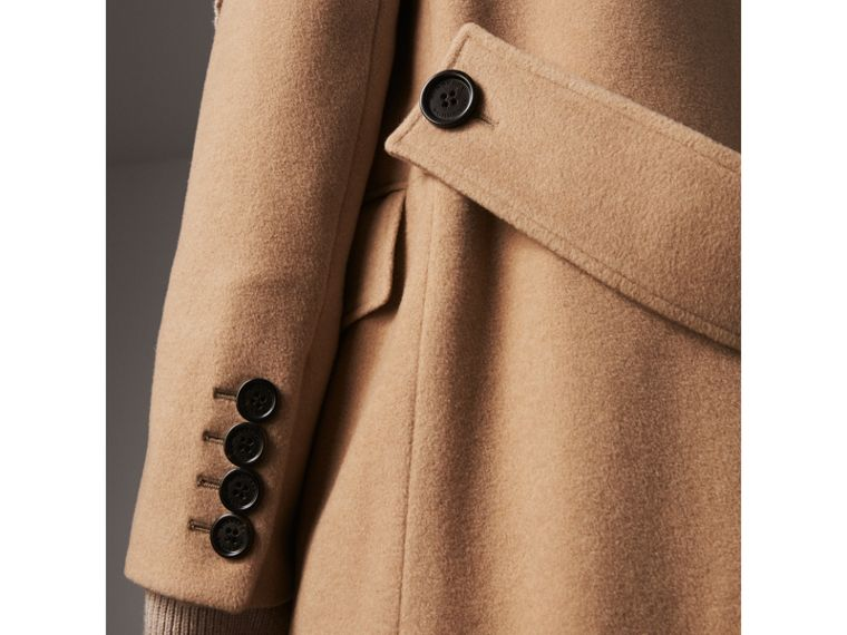 Detachable Rib Knit Collar Cashmere Coat in Camel - Women | Burberry - cell image 1