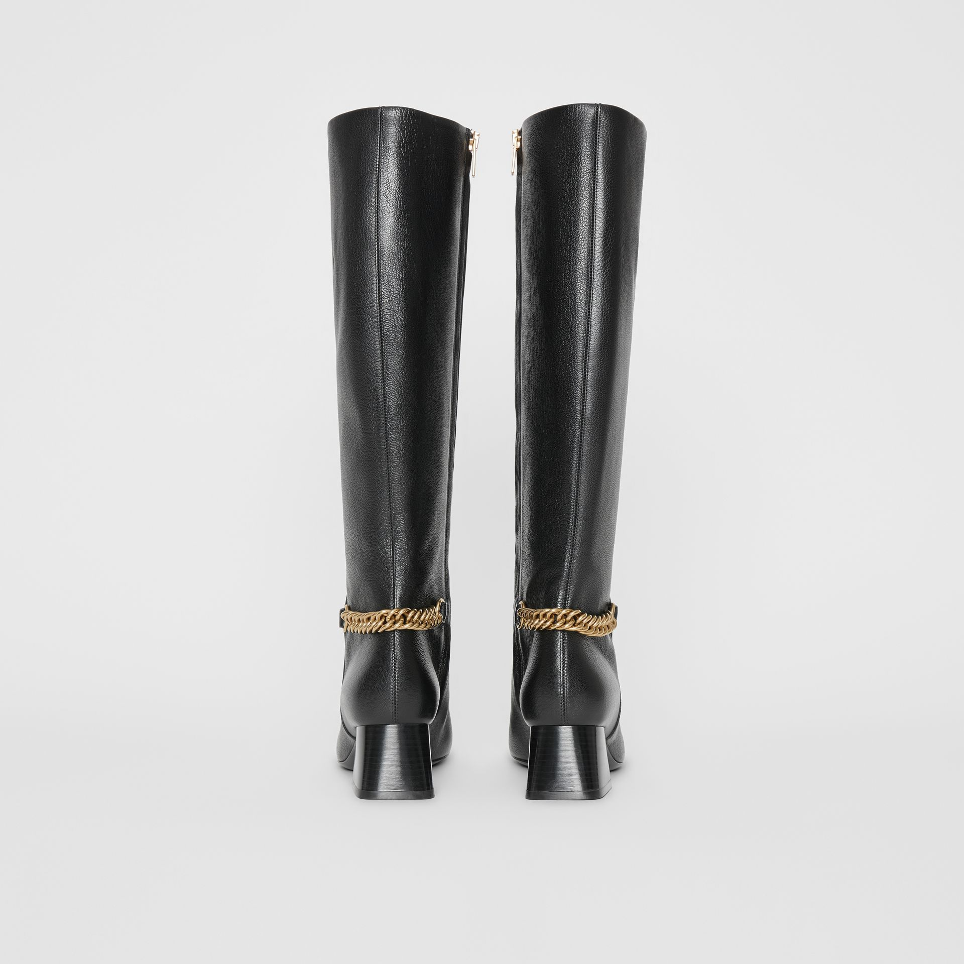 Link Detail Leather Knee-high Boots in Black - Women | Burberry - gallery image 4
