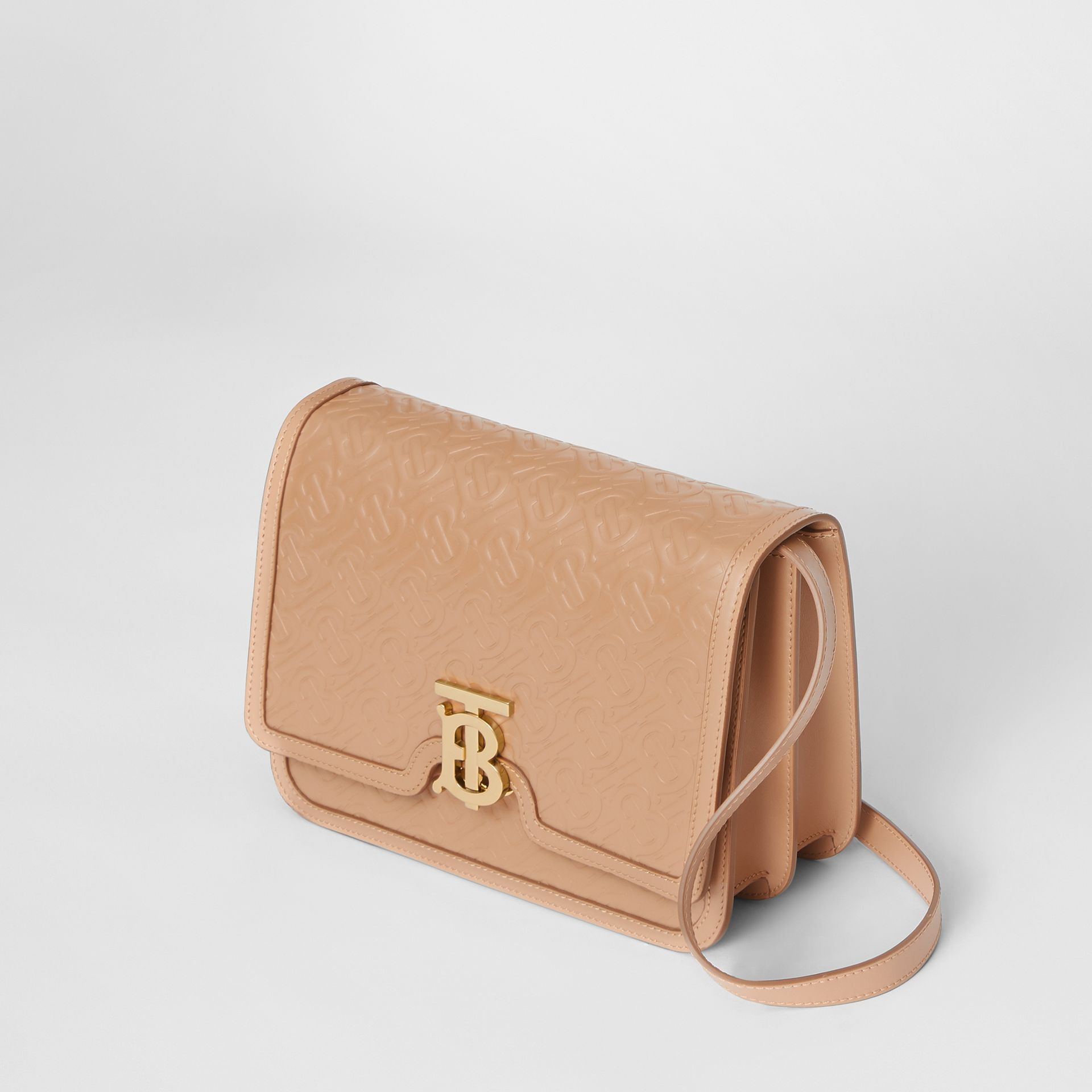 Medium Monogram Leather TB Bag in Light Camel - Women | Burberry Australia - gallery image 3