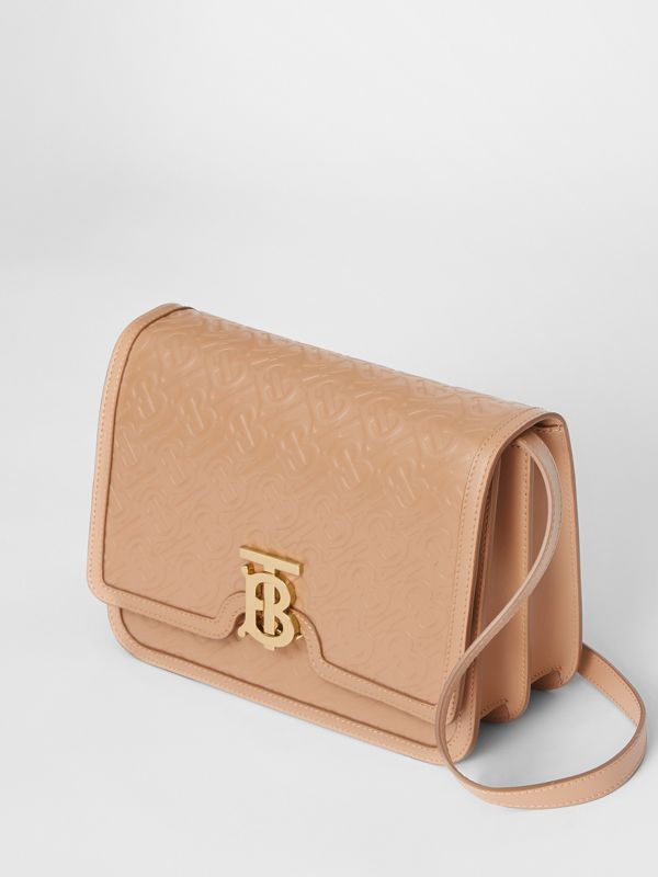Medium Monogram Leather TB Bag in Light Camel - Women | Burberry Australia - cell image 3