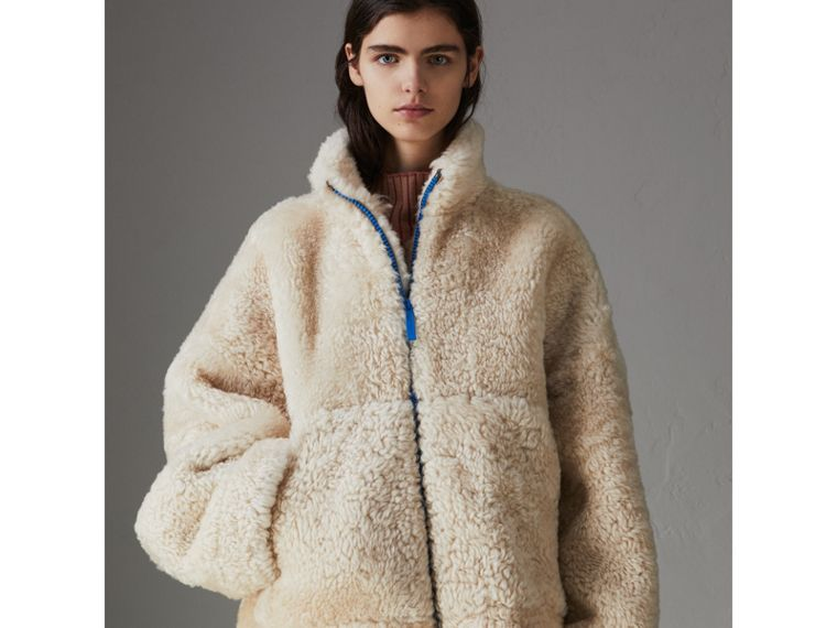 Contrast Zip Shearling Funnel-neck Jacket in Natural White - Women | Burberry Canada - cell image 4
