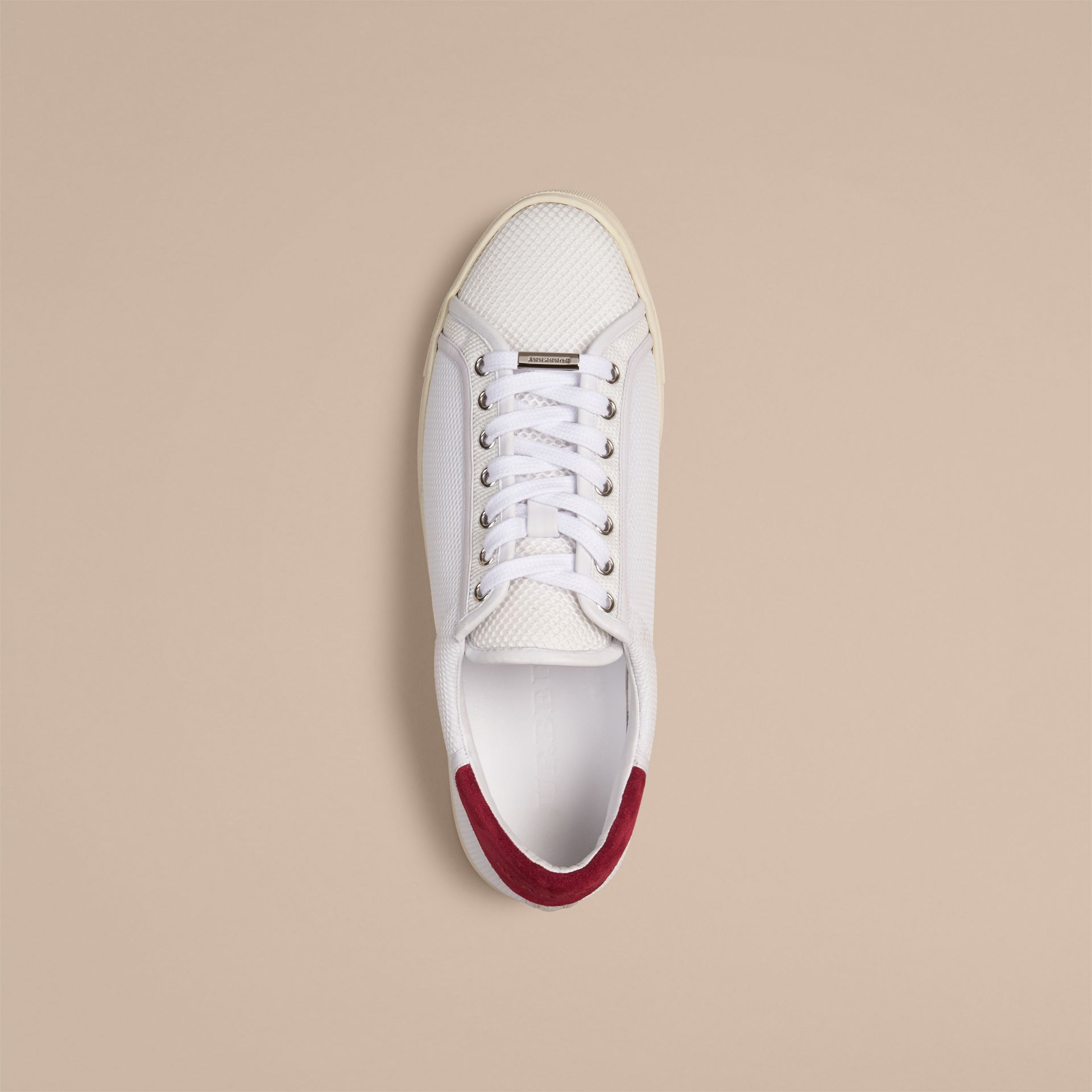 White/bright ruby red Mesh and Leather Trainers White/bright Ruby Red - gallery image 2