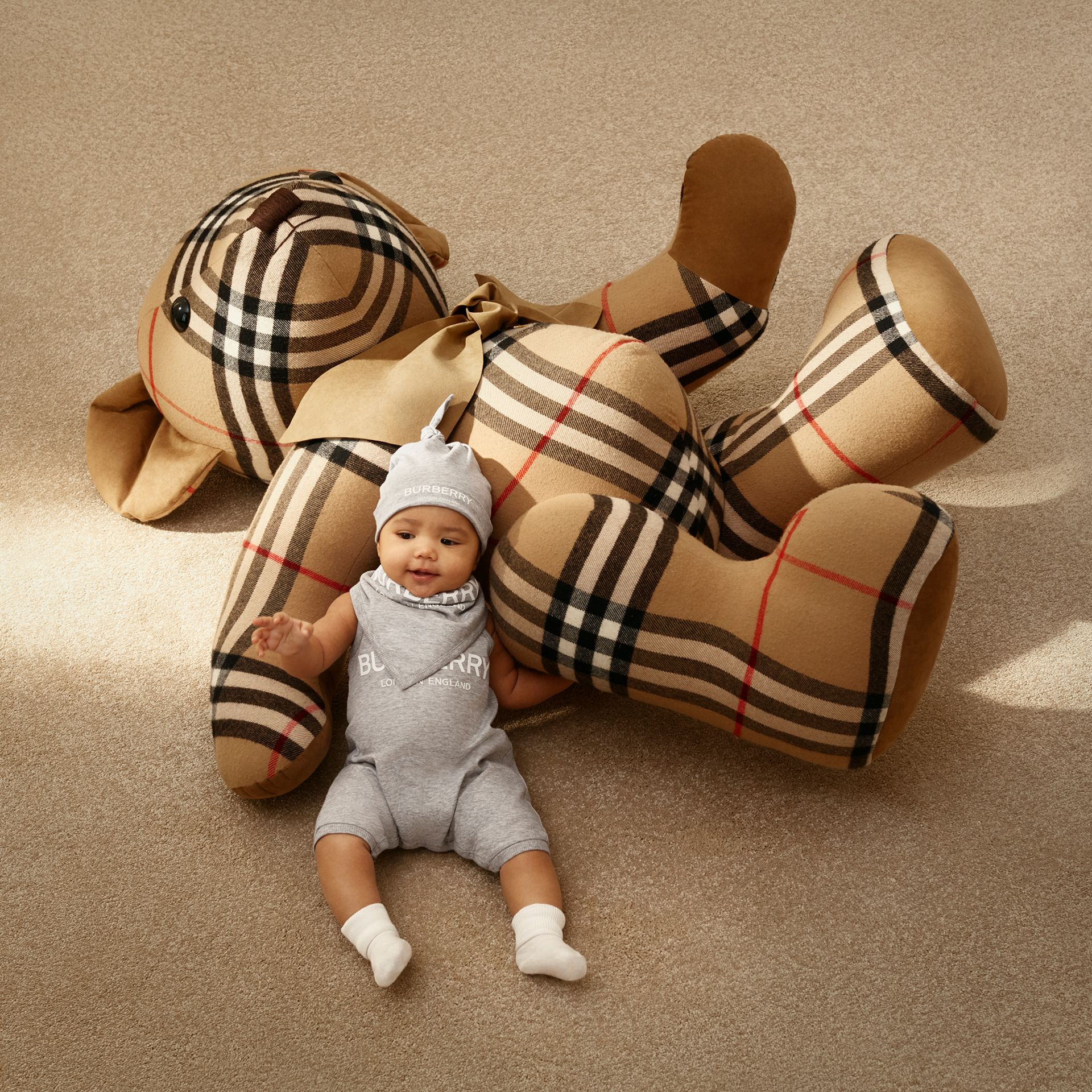 Logo Print Cotton Three-piece Baby Gift Set in Grey - Children | Burberry - gallery image 1