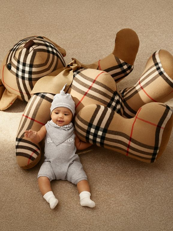 Logo Print Cotton Three-piece Baby Gift Set in Grey - Children | Burberry Singapore - cell image 1