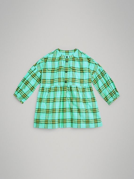 Kleid aus Baumwollflanell mit Karomuster (Leuchtendes Türkis)