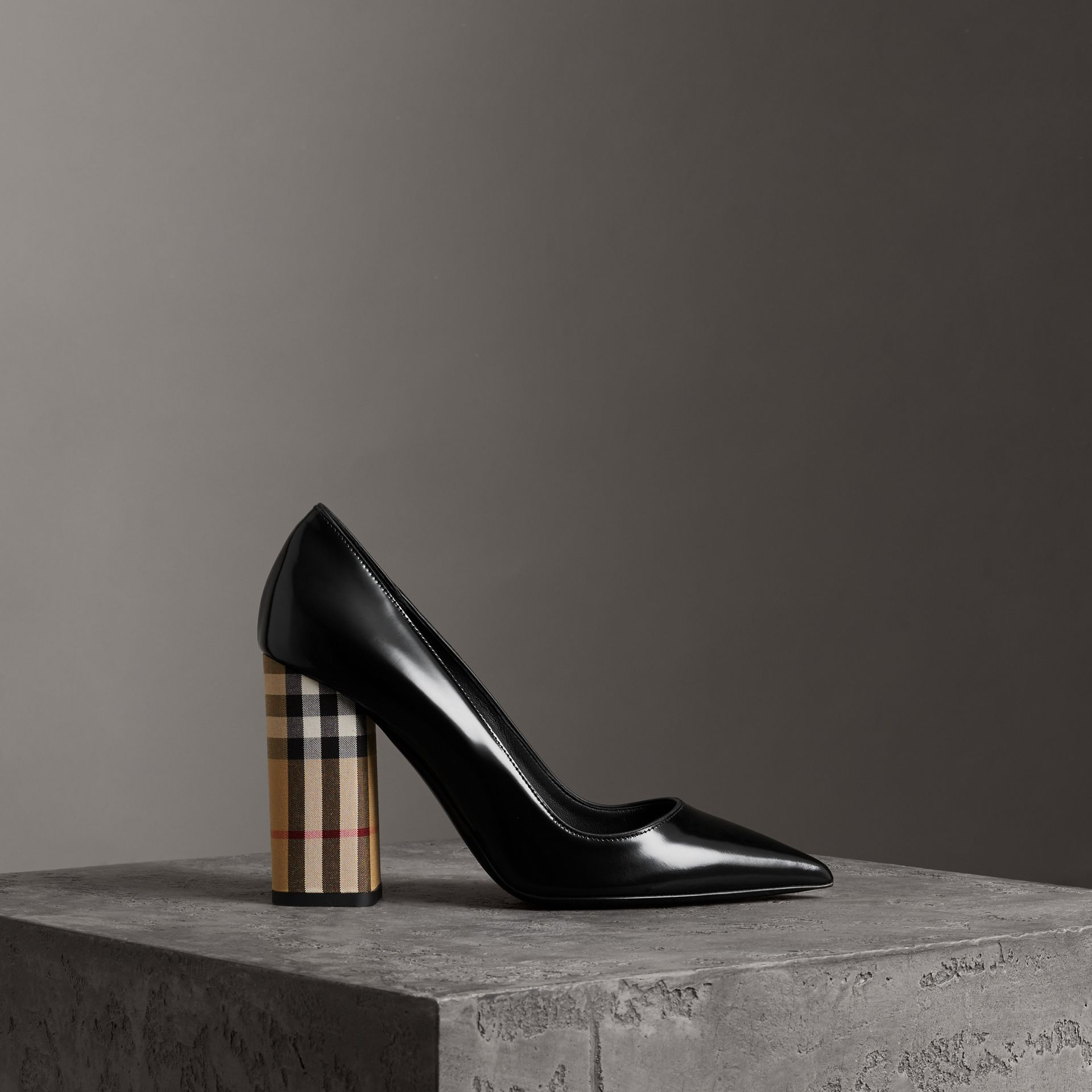 Patent Leather and Vintage Check Block-heel Pumps in Black - Women | Burberry United States - gallery image 0
