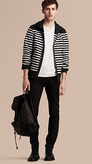 Striped Hooded Blouson
