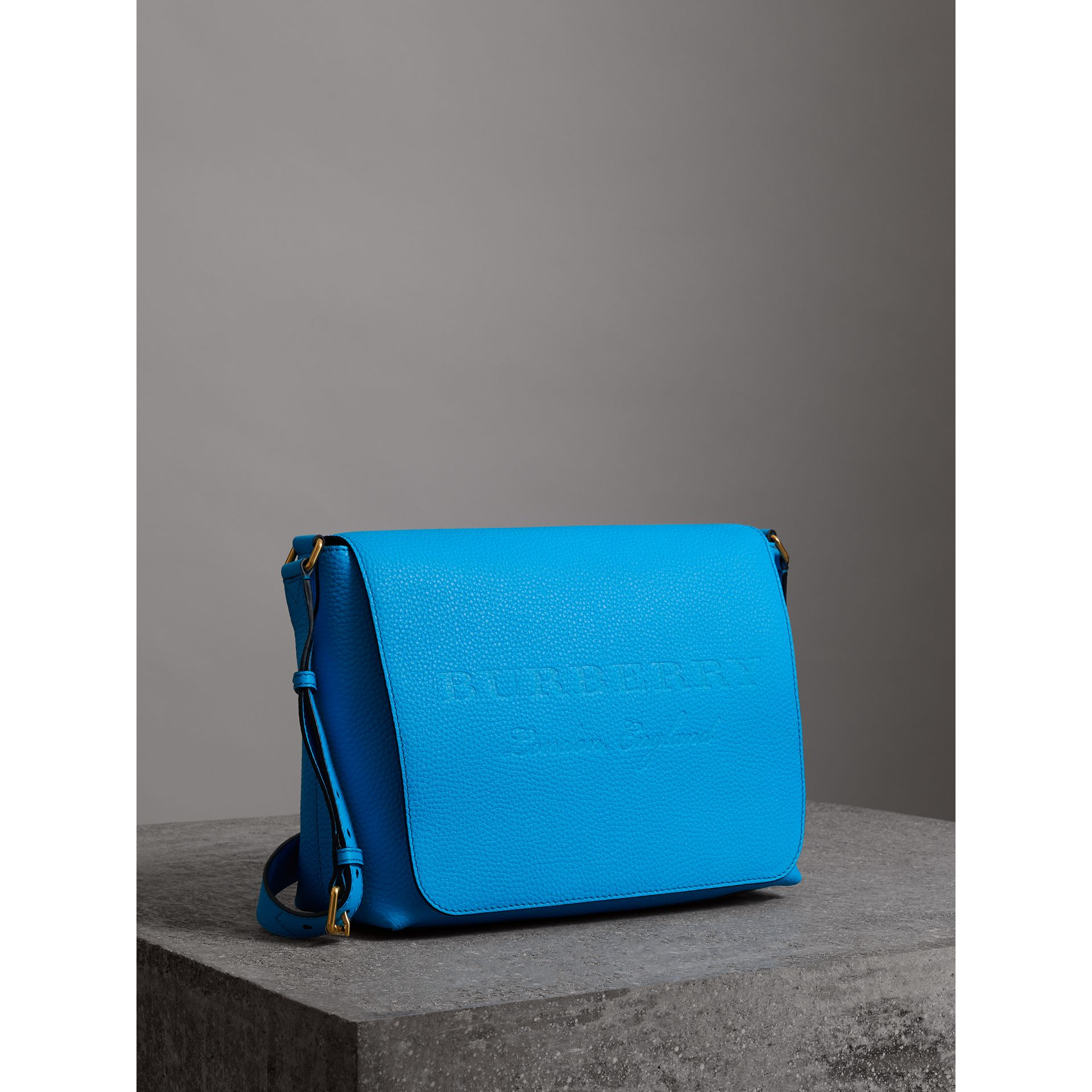 Medium Embossed Leather Messenger Bag in Neon Blue | Burberry - gallery image 4