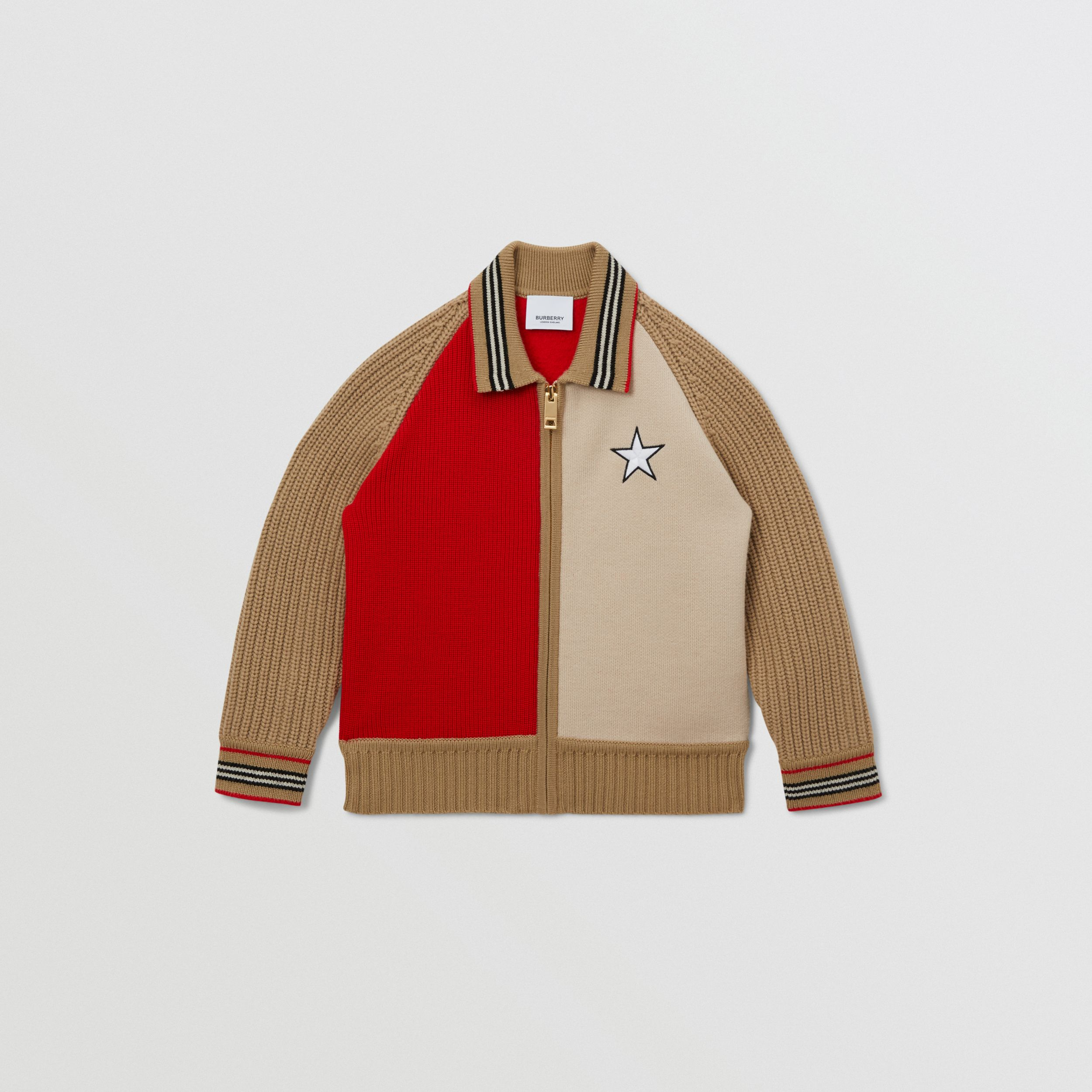 Star Motif Colour Block Wool Jacket | Burberry Australia - 1