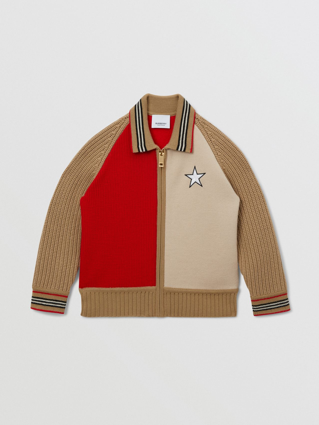 Star Motif Colour Block Wool Jacket