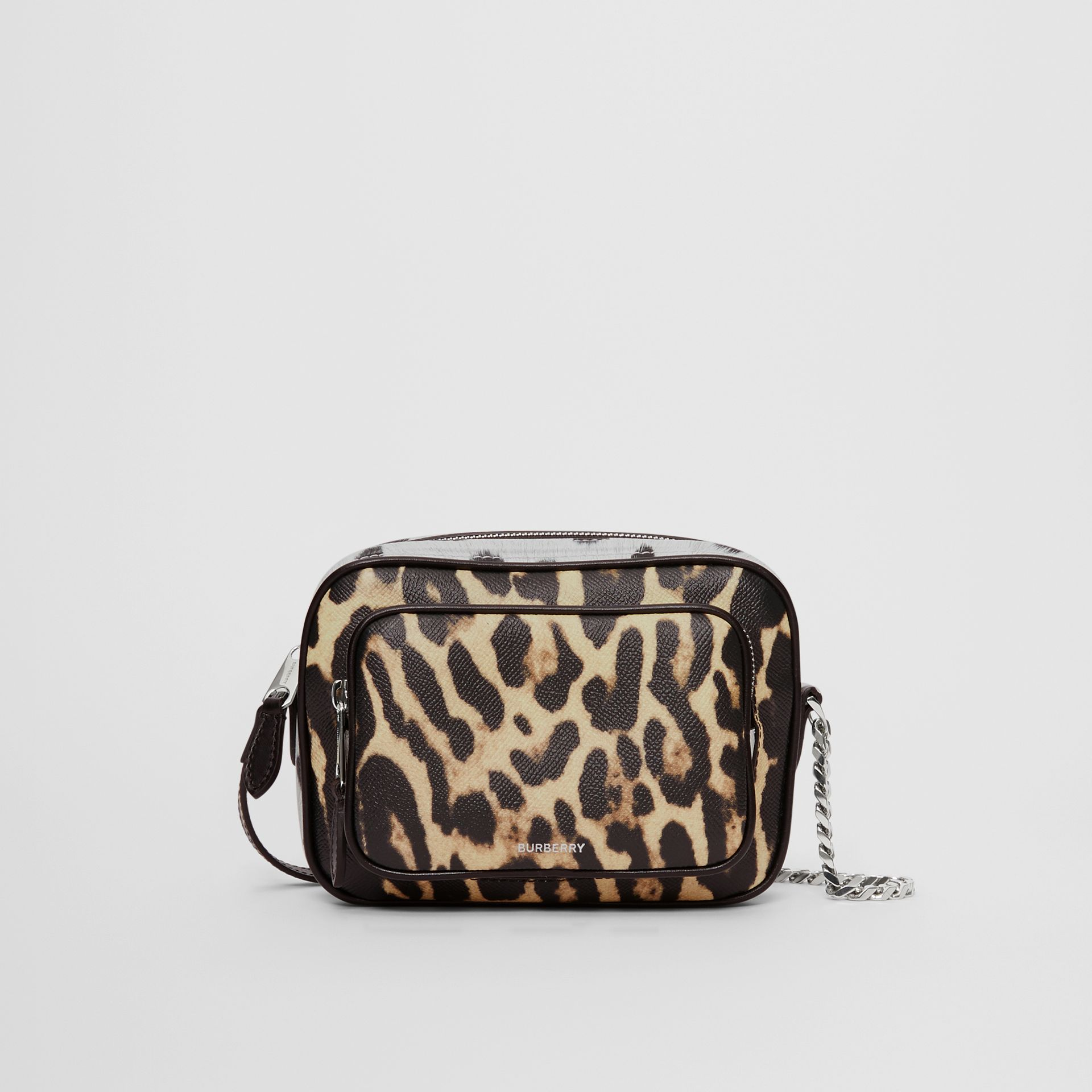 Animal Print Leather Camera Bag in Honey/black - Women | Burberry Australia - gallery image 0