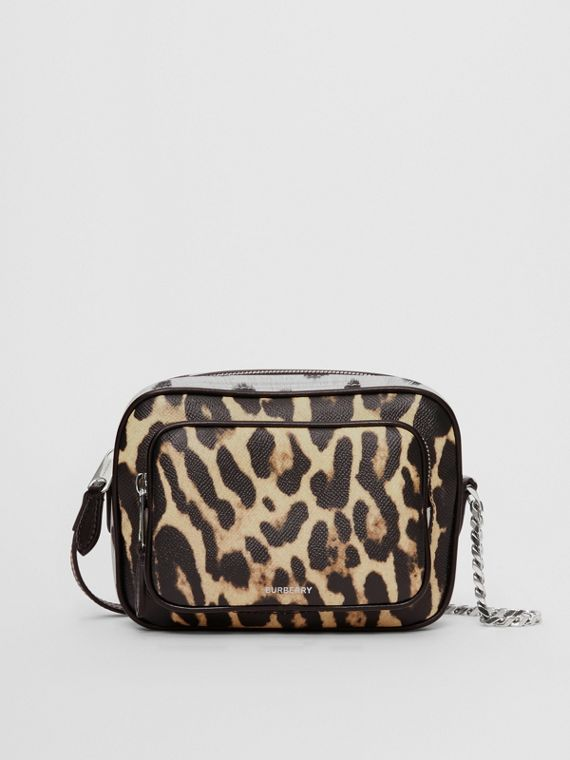 Camera bag in pelle con stampa animalier (Miele/nero)