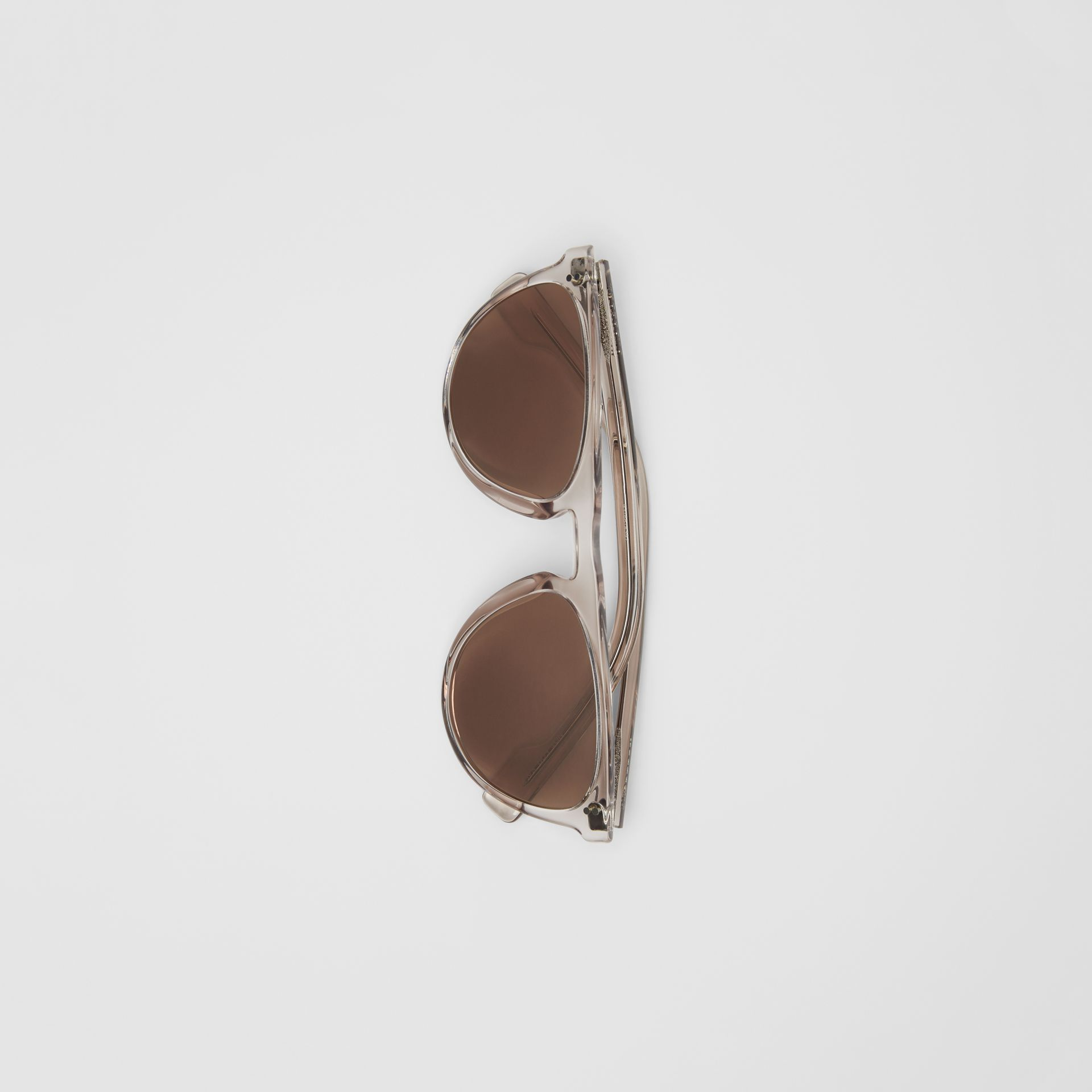 Keyhole D-shaped Sunglasses in Grey - Men | Burberry - gallery image 3