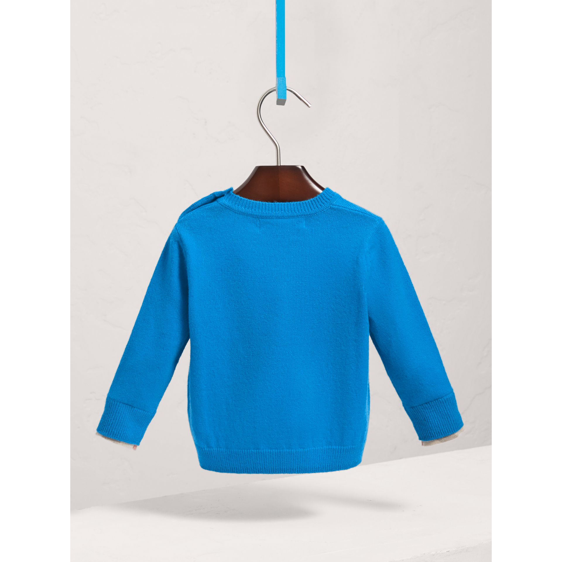 Check Cuff Cashmere Sweater in Cyan Blue | Burberry United Kingdom - gallery image 3